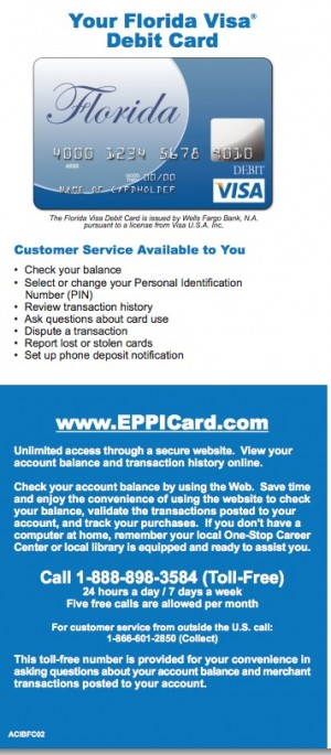 Florida Unemployment Insurance EPPICard Customer Service