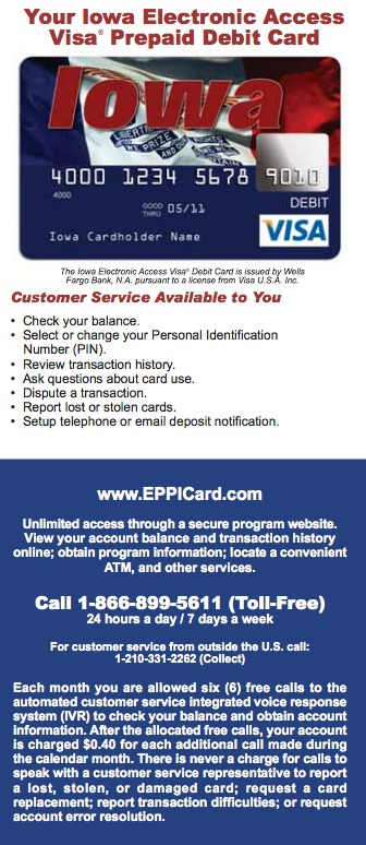 """Iowa EPPICard Customer Service"""