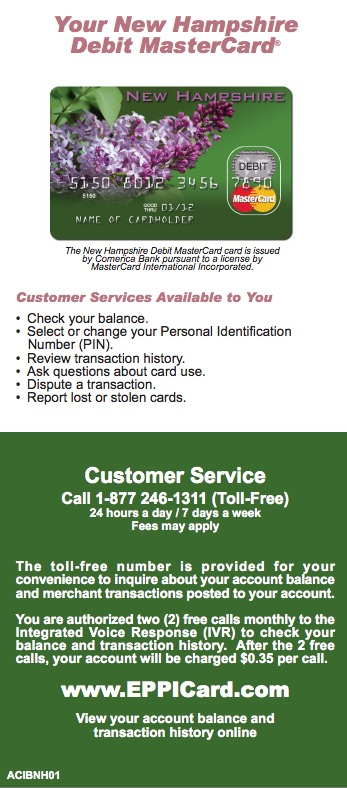 New Hampshire NH EPPICard Customer Service Number - Eppicard Help