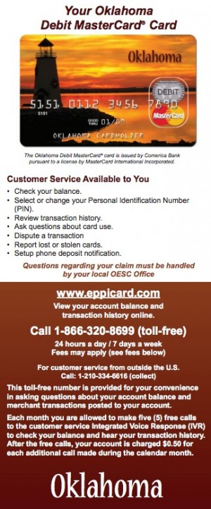 Oklahoma EPPICard Customer Service Unemployment Benefits Card