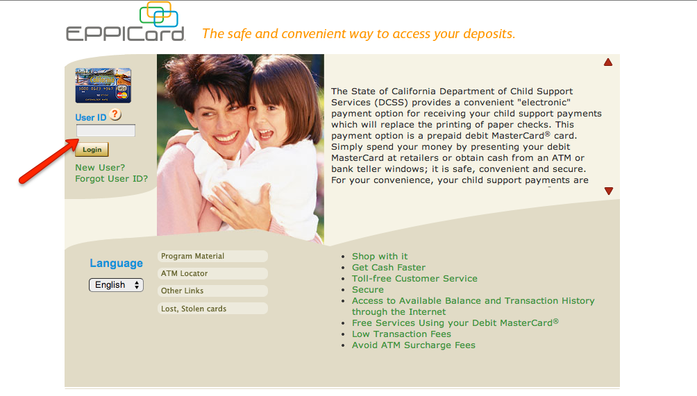 California Child Support Card